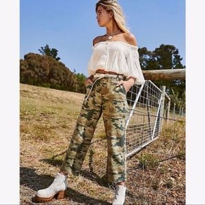 NWT Free People Green Army Style Camo Pants